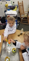 1st Grade Chemistry Experimenting with chemical reactions.