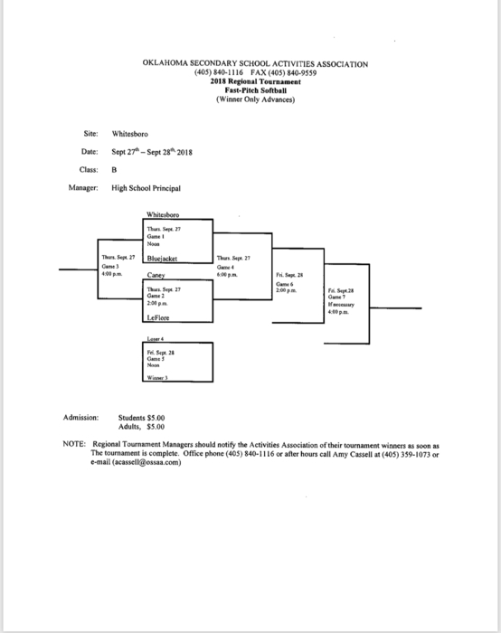 Softball Regional Bracket