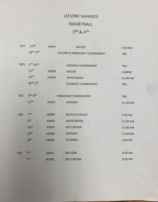 3/4 basketball schedule