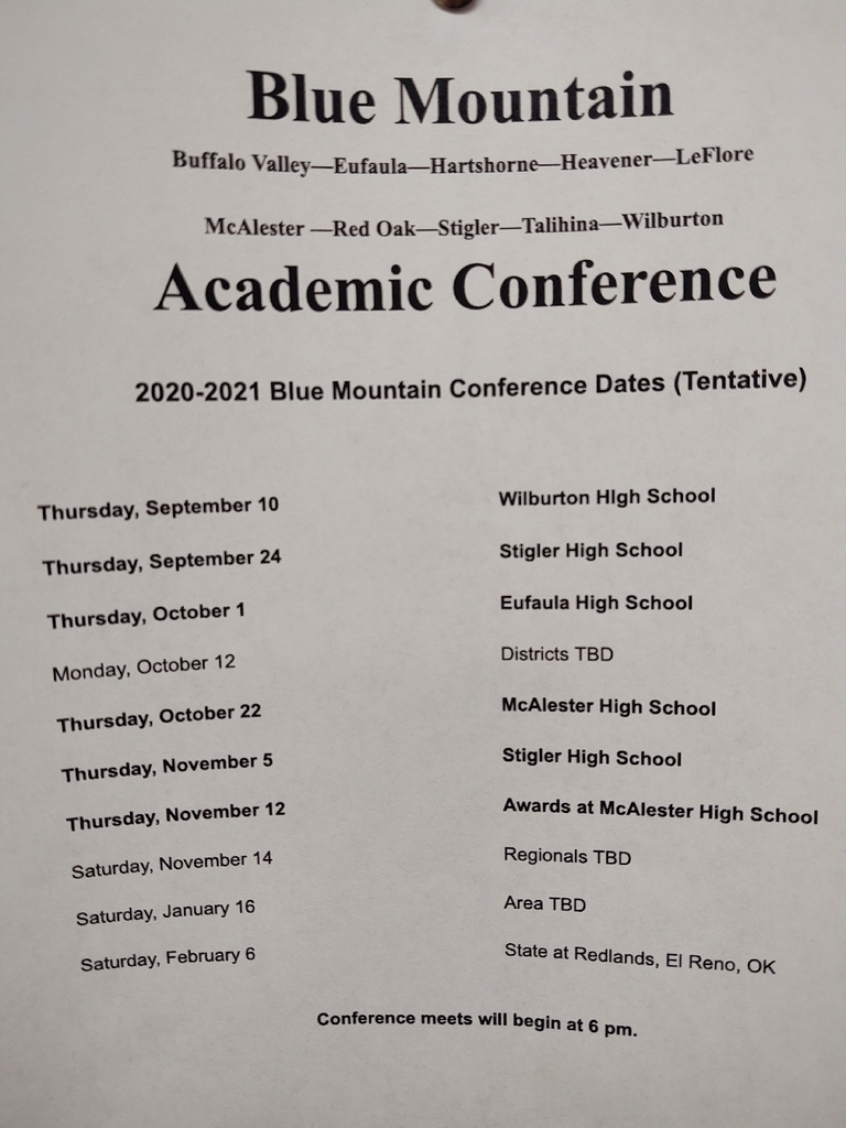 HS Academic team conference schedule